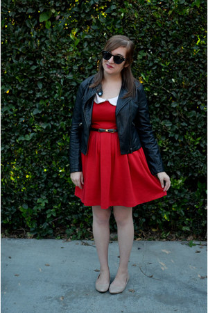 red collared modcloth dress - leather Buffalo Exchange jacket