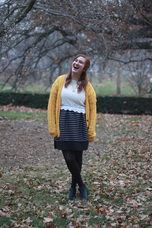 yellow Nordstrom Rack cardigan - H&M boots - striped modcloth dress