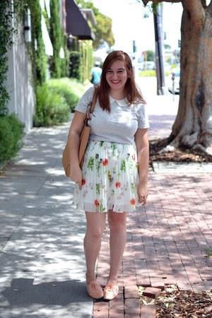 Old Navy bag - BB Dakota skirt - collared J Crew top - Urban Outfitters flats