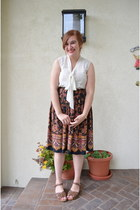 patterned vintage skirt - sheer Urban Outfitters top - brown Target sandals