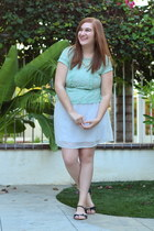 mint lace modcloth top - white Francescas Collections dress - eFoxCity necklace