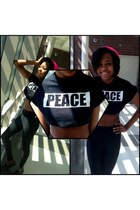 cotton PEACE crop top t-shirt - cotton Neon Pink Beanie hat