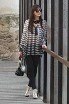 black Stradivarius leggings - black EZZIO bag - white EZZIO heels