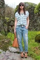 light blue BLANCO blouse - sky blue Zara jeans - tawny Bershka wedges