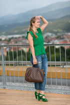 green unkown shirt - boyfriend Zara jeans - speedy 35 Louis Vuitton bag