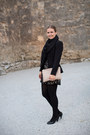 Lace-f21-dress-black-peplum-h-m-blazer-black-h-m-scarf