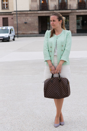 boucle Zara blazer - Louis Vuitton bag - lace H&M skirt - grey suede H&M heels