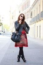 black Zara boots - ruby red MenoTienda dress - black Mango jacket