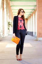 carrot orange ted baker blouse - black Mango blazer