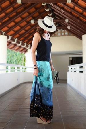 turquoise blue rapsodia skirt - black mexico hat - black Massimo Dutti top