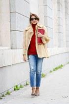 camel vintage coat - sky blue Mango jeans - camel Dolce & Gabbana sunglasses