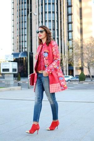 red liu jo coat - red Zara boots - violet Zara jeans - red liu jo blouse