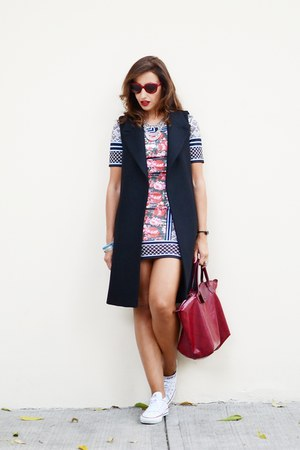 black Zara vest - red Relaxfeel dress - white Converse sneakers