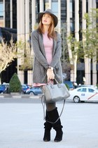 charcoal gray Mango cardigan - black Stradivarius boots