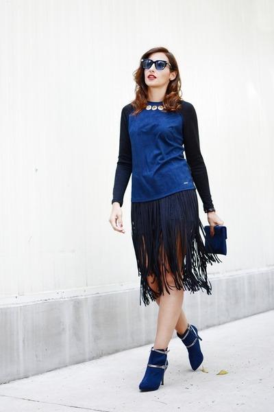 black Zara skirt - navy Jaclin boots - navy Javier Simorra sweater