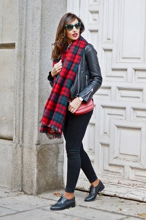 ruby red Zara scarf - black Levis shoes - black Levis jeans