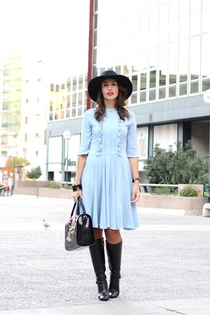 black Zara hat - black Massimo Dutti boots - light blue Cacharel dress