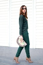 green Samsoe sweater - light brown Carolina Herrera boots