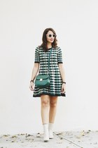 cream Zara boots - green Missoni dress - green Zara bag