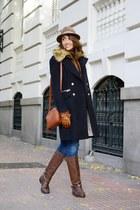 camel Bearwood vest - brown Massimo Dutti boots - navy Mango coat