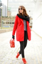 red Zara boots - red Sheinside coat - red braccialini bag - black Mango pants