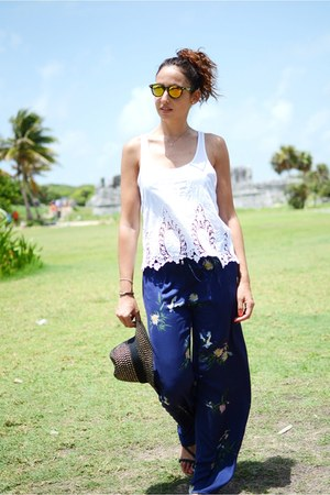 navy Zara pants - mustard Northweek sunglasses - ivory Zara top