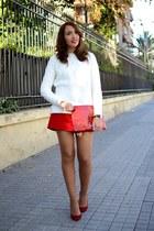 red Bimba & Lola bag - off white Zara sweater - red Christian Louboutin heels
