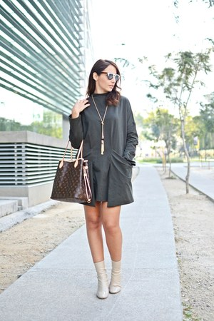 eggshell Zara boots - army green shein dress - brown Louis Vuitton bag