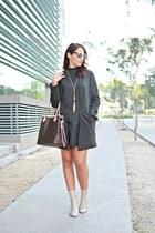 eggshell Zara boots - army green shein dress - brown Louis Vuitton bag