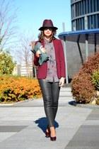 maroon Massimo Dutti blazer - maroon DAY A DAY hat - black Prada sunglasses