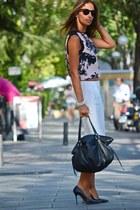 light pink Zara blouse - black Tous bag - off white Zara pants