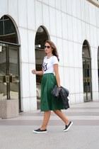 green Zara skirt - black Mango blazer - white KDupont shirt
