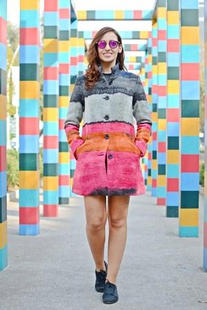 hot pink desigual coat - hot pink Massada sunglasses - black gioseppo sneakers