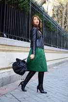 green Zara skirt - black Mango boots - green ray-ban sunglasses