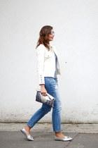 silver calvin klein sunglasses - white Julio blazer - violet Levis t-shirt