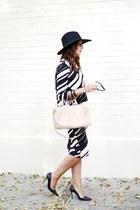 black Zara hat - black Zara skirt - black Zara top