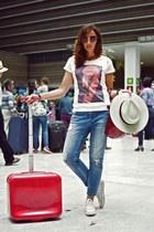 white Dead Legacy shirt - blue Mango jeans - red Salvatore Ferragamo sunglasses