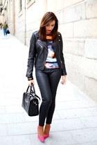 hot pink Mango top - black Mango jacket - black Mango pants