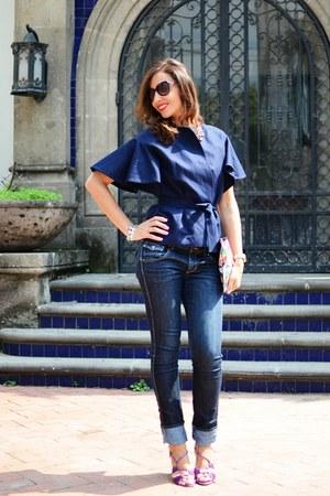 pink Manolo Blahnik sandals - navy H&M jeans - navy angel schlesser blazer