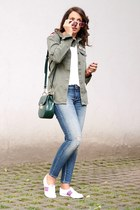 blue Zara jeans - olive green Superdry shirt - hot pink Massada sunglasses