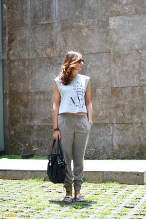 heather gray Mango shirt - dark khaki Mango pants
