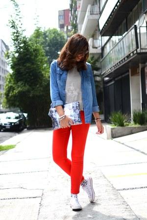 red Zara jeans - sky blue Springfiel shirt - silver Mango shirt