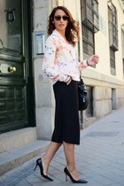 light pink Promod jacket - black Promod pants - black Manolo Blahnik heels