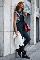 black Zara boots - ruby red longchamp bag - navy c&a pants - black c&a blouse