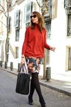 red Mango sweater - black Zara bag - black Dolce & Gabbana sunglasses