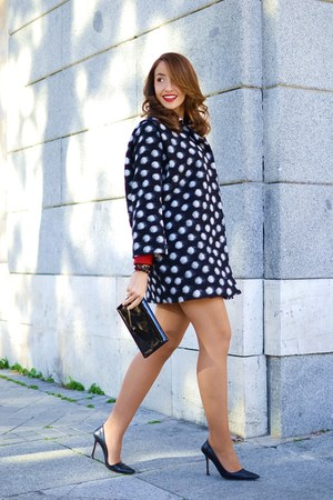black Dolores Promesas coat - red Zara blouse - black Manolo Blahnik heels