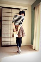 black perpetual princess t-shirt - brown skirt - brown belt - brown F & F shoes