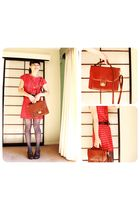 red dress - gray Glassons tights - brown accessories - brown shoes
