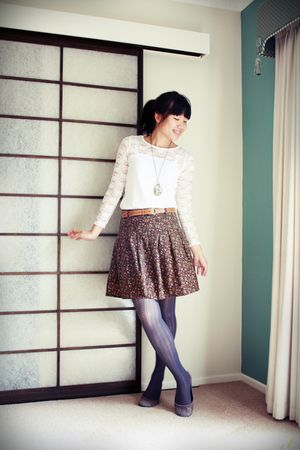 white top - brown skirt - gray tights - brown belt - gold accessories