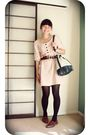 Pink-point-zero-dress-brown-shoes-beige-mng-accessories-brown-belt